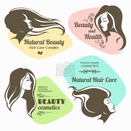 Illustration for Vector set of beauty, cosmetics labels. Logo girl with long hair - Royalty Free Image