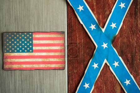 confederate and american flag concept