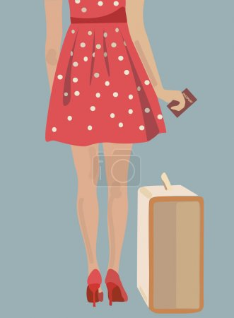 Illustration for Woman with a suitcase and a passport. Girl ready to travel - Royalty Free Image