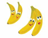 Banana Face Expressions Cartoon Fruit Isolated on White Background