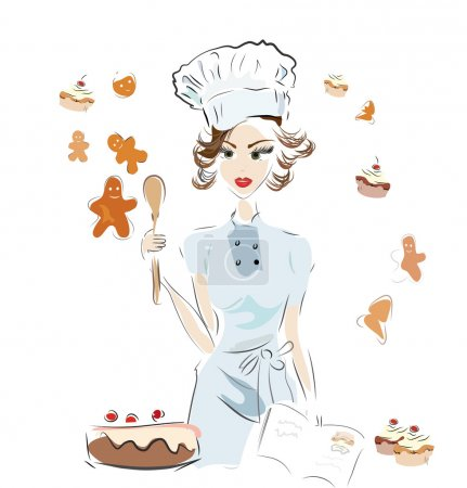 Illustration for Baker Chef with a Recipe Book and Chocolate Cake, Cookies and Cupcakes - Royalty Free Image