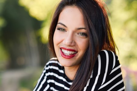 Photo for Portrait of pretty girl with green eyes wearing casual clothes, smiling - Royalty Free Image