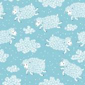 Seamless pattern with cute sheep and clouds