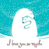 Greeting card with mother bear hugging her baby Vector illustration