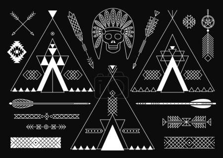 Illustration pour Collection d'éléments de style tribal amérindien pour le design. Illustration vectorielle. - image libre de droit