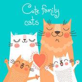 Roztomilý karta s rodiny koček