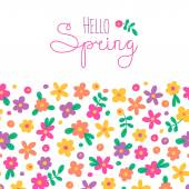 Sizon card Hello Spring with cute flowers Vector illustration