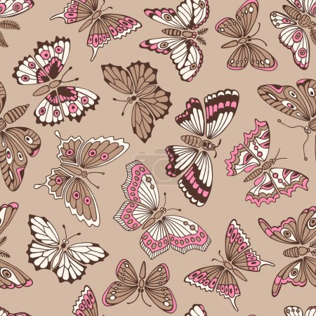 Illustration for Seamless pattern with decorative butterflies. Vector illustration - Royalty Free Image