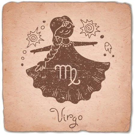 Illustration for Virgo zodiac sign horoscope vintage card. Vector illustration - Royalty Free Image