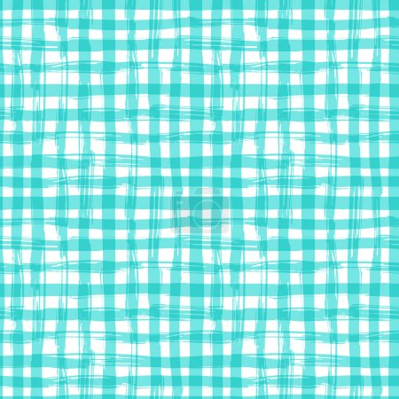 Illustration for Vector seamless pattern with square hand drawn texture. Aquamarine checkered tablecloth - Royalty Free Image