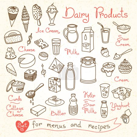Set drawings of milk and dairy products for design menus, recipes