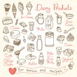 Set drawings of milk and dairy products for design...