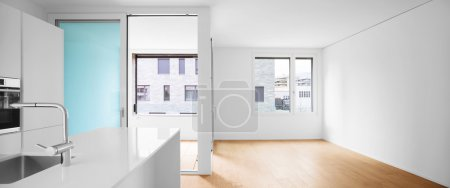 Photo for Interior of modern apartment with wooden floor - Royalty Free Image
