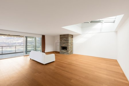 Modern architecture, new empty apartment, living room