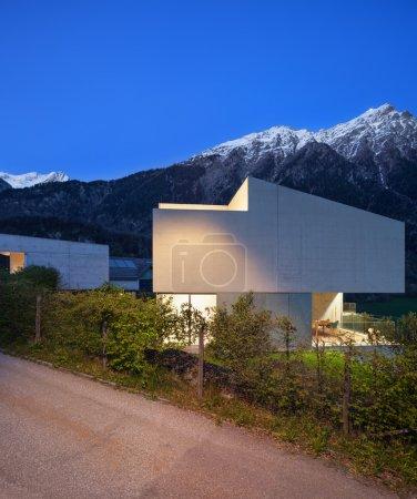 concrete house, night scene
