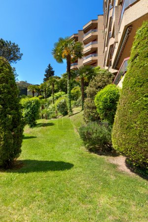 garden of luxury apartment buildings