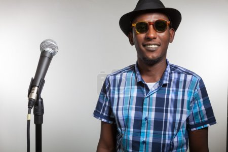 African singer with microphone