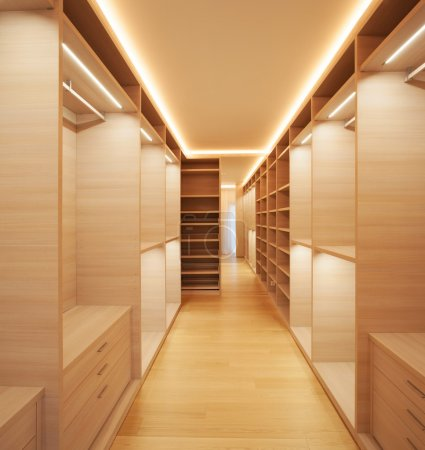 Photo for Elegant wooden walk-in closet ( mostly for women ) - Royalty Free Image