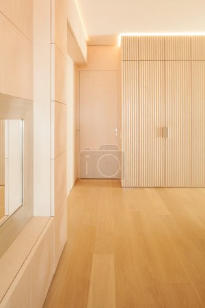 Minimal wooden floor interior
