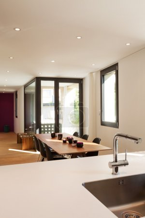 Photo for Interior of modern apartment furnished, dining room - Royalty Free Image