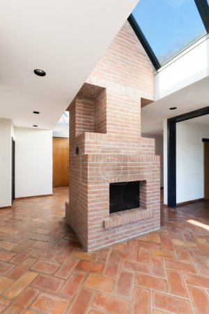 Architecture, house interior, fireplace
