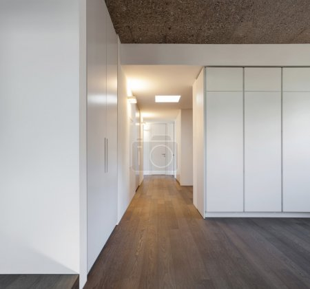 Photo for Architecture, modern apartment, empty room with wardrobes - Royalty Free Image