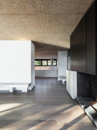 Home, empty room with parquet floor