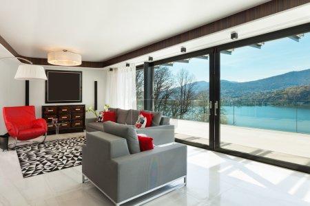 Photo pour Architecture, maison moderne, beau salon, intérieur - image libre de droit