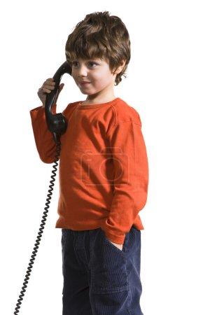 joyful kid at phone
