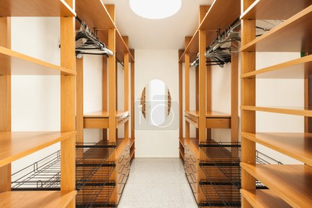 Photo for Wide wooden dressing room, interior of a modern house - Royalty Free Image