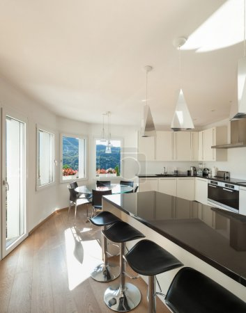 Kitchen, counter top with stools