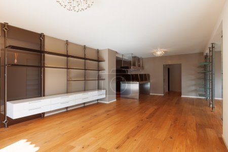 Photo for Interior of modern house, unfurnished apartment, open plan living - Royalty Free Image