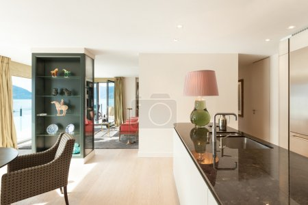 Photo for Interior, beautiful modern apartment, elegant living with kitchen - Royalty Free Image