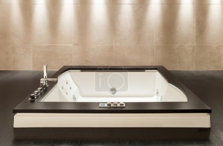 Photo for Interior modern house,  wide marble bathroom with jacuzzi - Royalty Free Image