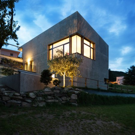 Modern house by night