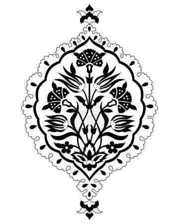 Black artistic ottoman seamless pattern series sixty six version