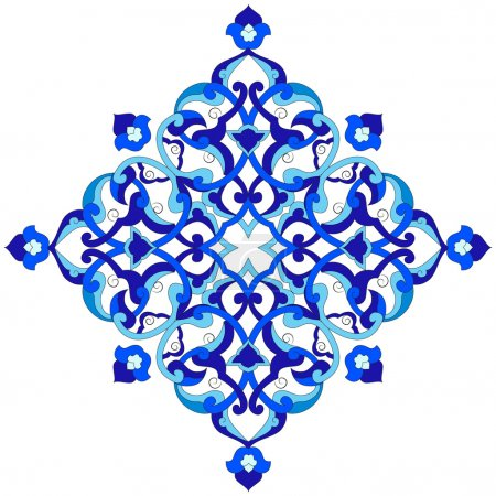 Illustration for Blue patterns series designed utilizing the old Ottoman motifs - Royalty Free Image
