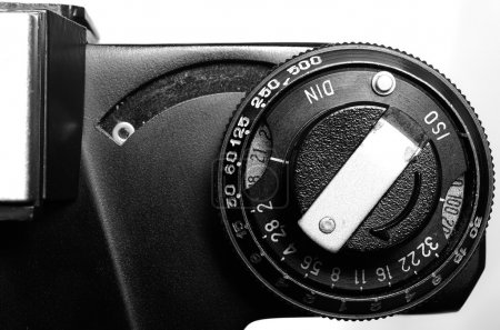 Old film DSLR camera. The dial sensitivity of the ...