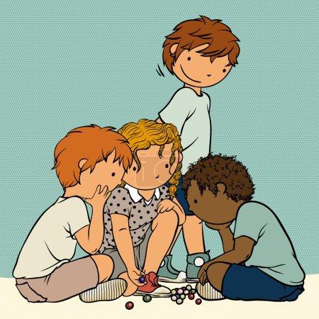 groupe multiethnique de gosses jouant des marbres - jeux traditionnels de l'enfance