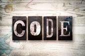 Typ kódu koncept kovových knihtisk