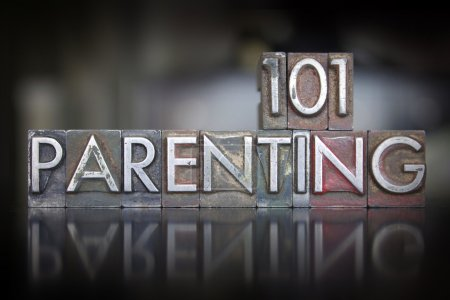 Photo for The words Parenting 101 written in vintage letterpress type - Royalty Free Image