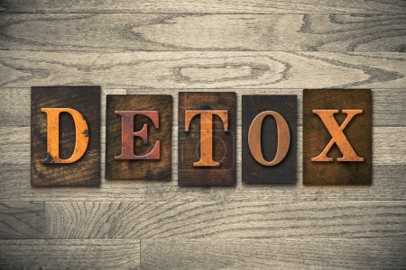 "Photo for The word ""DETOX"" written in vintage wooden letterpress type. - Royalty Free Image"