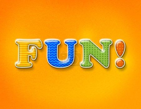 Photo pour Le mot FUN ! écrit en lettres ludiques colorées sur un fond lumineux . - image libre de droit