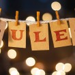 The word RULES printed on clothespin clipped cards...