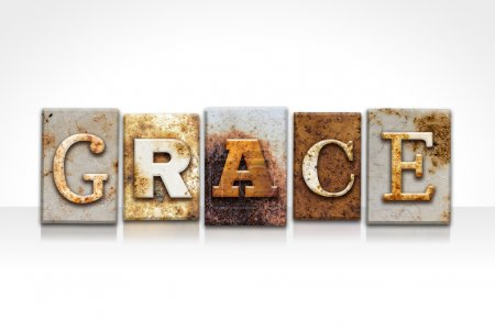 "Photo for The word ""GRACE"" written in rusty metal letterpress type isolated on a white background. - Royalty Free Image"