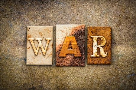 "Photo for The word ""WAR"" written in rusty metal letterpress type on an old aged leather background. - Royalty Free Image"