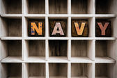 Navy Concept Wooden Letterpress Type in Drawer