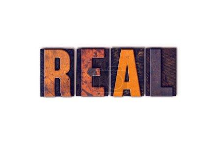 """Photo pour Le mot """"Réel"""" écrit en style typographique vintage isolé sur fond blanc . - image libre de droit"""