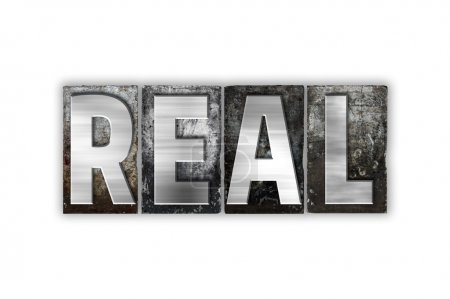 """Photo pour Le mot """"Real"""" écrit en typographie métal vintage isolé sur fond blanc . - image libre de droit"""