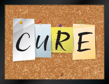 """Illustration for An illustration of the word """"CURE"""" written on pieces of colored paper pinned to a cork bulletin board. Vector EPS 10 available. - Royalty Free Image"""